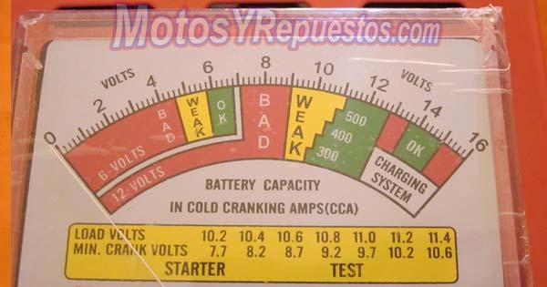 escala del tester de baterias de motos